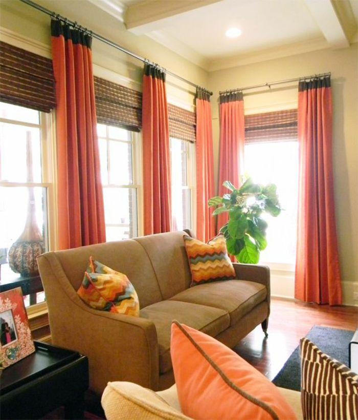 Charmant Elegantes Wohnzimmer Interieur Moderne Gardinen Für Wohnzimmer  Orange