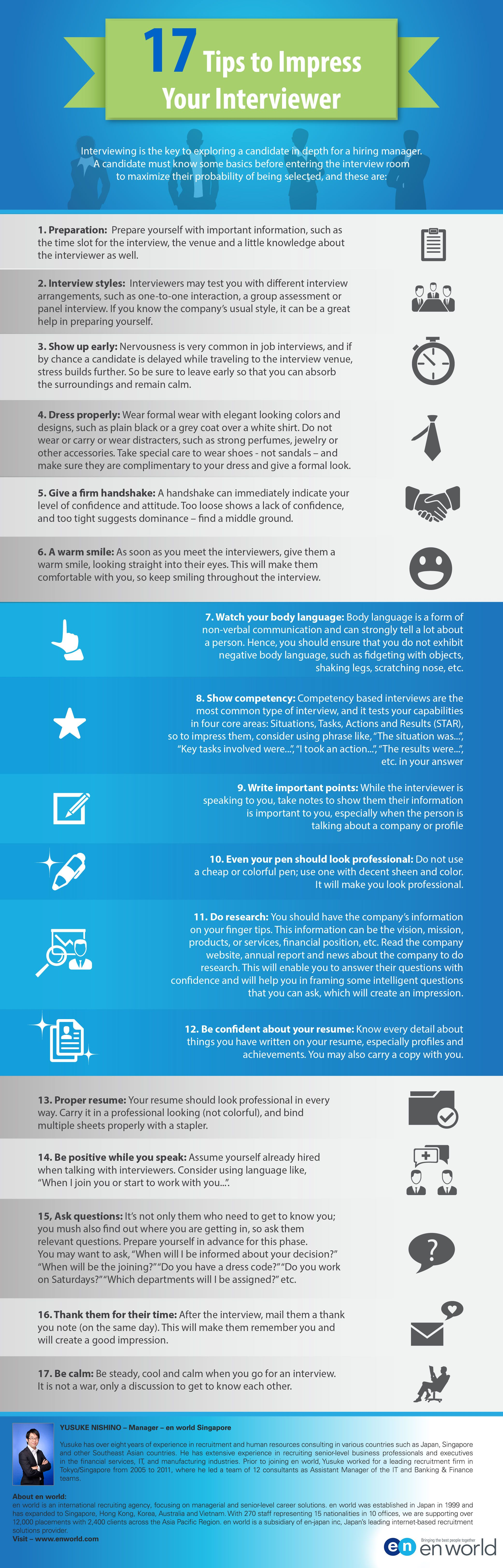 infographic 17 tips to impress your interviewer infographic image description 17 tips to impress your interviewer infographic - Go Resumes Interview Tips