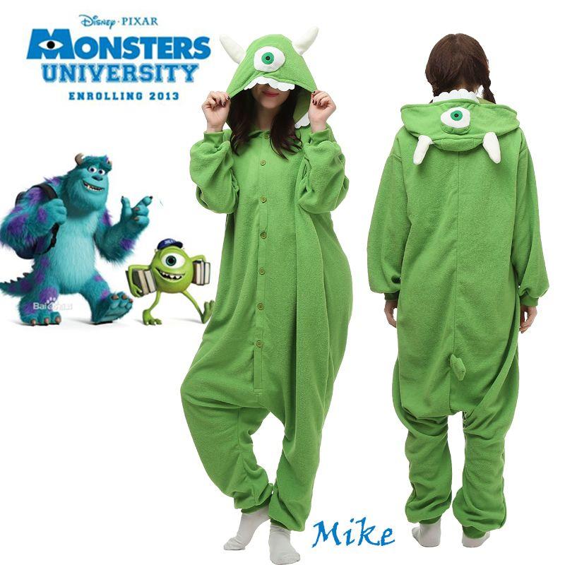 4734d799f9b0 Cartoon Monsters University Mike Wazowski Fleece Cosplay Costume Pajamas  Party Adult Unisex Warm Sleepwear Women Onesies