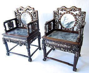 Chinese Pair of Inlaid Hardwood Chairs
