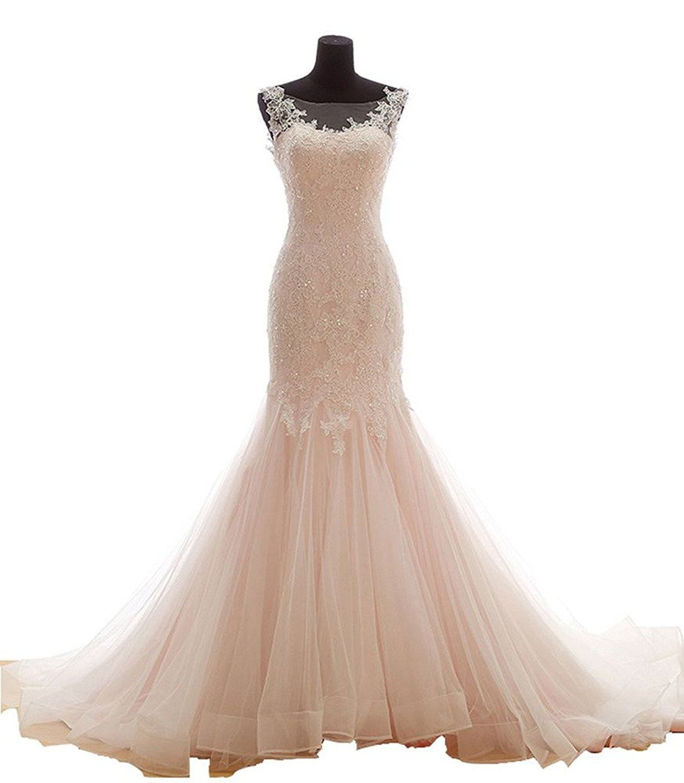 Plus size tulle wedding dress  Snowskite Womens Mermaid High Neck Vintage Lace Tulle Wedding Dress