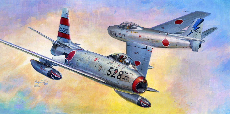 Обои painting, ww2, jet, Airplane, aviation, North american f-86d sabre, war, jet. Авиация foto 9