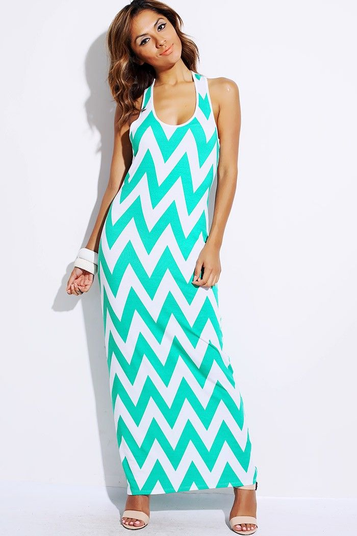 1015store fashion style Mint green white chevron print long