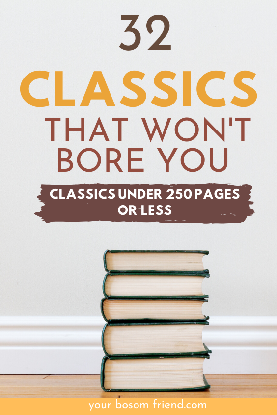 Looking for great classics to read but can't read long books? Try reading these awesome list of short classic novels under 250 pages before you die. Some of the classics like Great Gatsby, Of mice and men , old man and the sea are classics under 100 pages. Short books can help you read more books. Add these top, easy classics to your reading list and start day with great works of literature. Booklists| Short books | Booksunder500 pages Booksunder100 pages