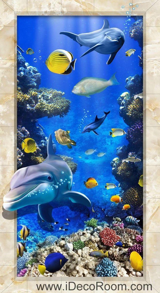 Dophin Chasing Coral Fish Ocean 00074 Floor Decals 3D Wallpaper ...