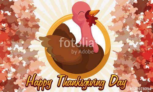 turkey holding maple leaf in its beak celebrating canadian thanksgiving