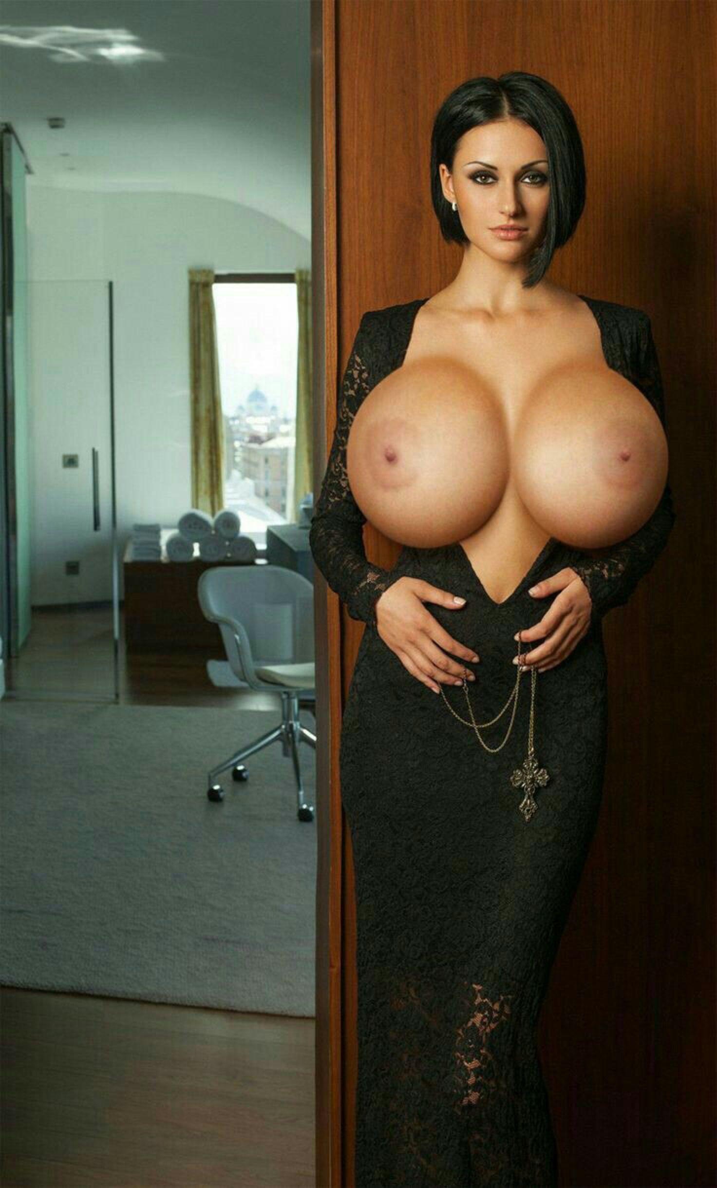 Jacqueline Macinnes Wood Tits pin on huge juggs