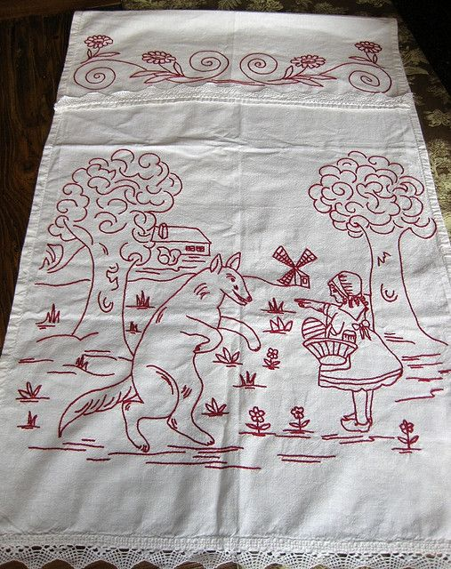 a vintage embroidery,little red riding hood
