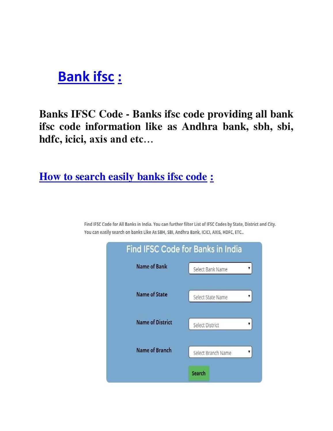 Bank Ifsc Coding Bank Branch Bar Chart
