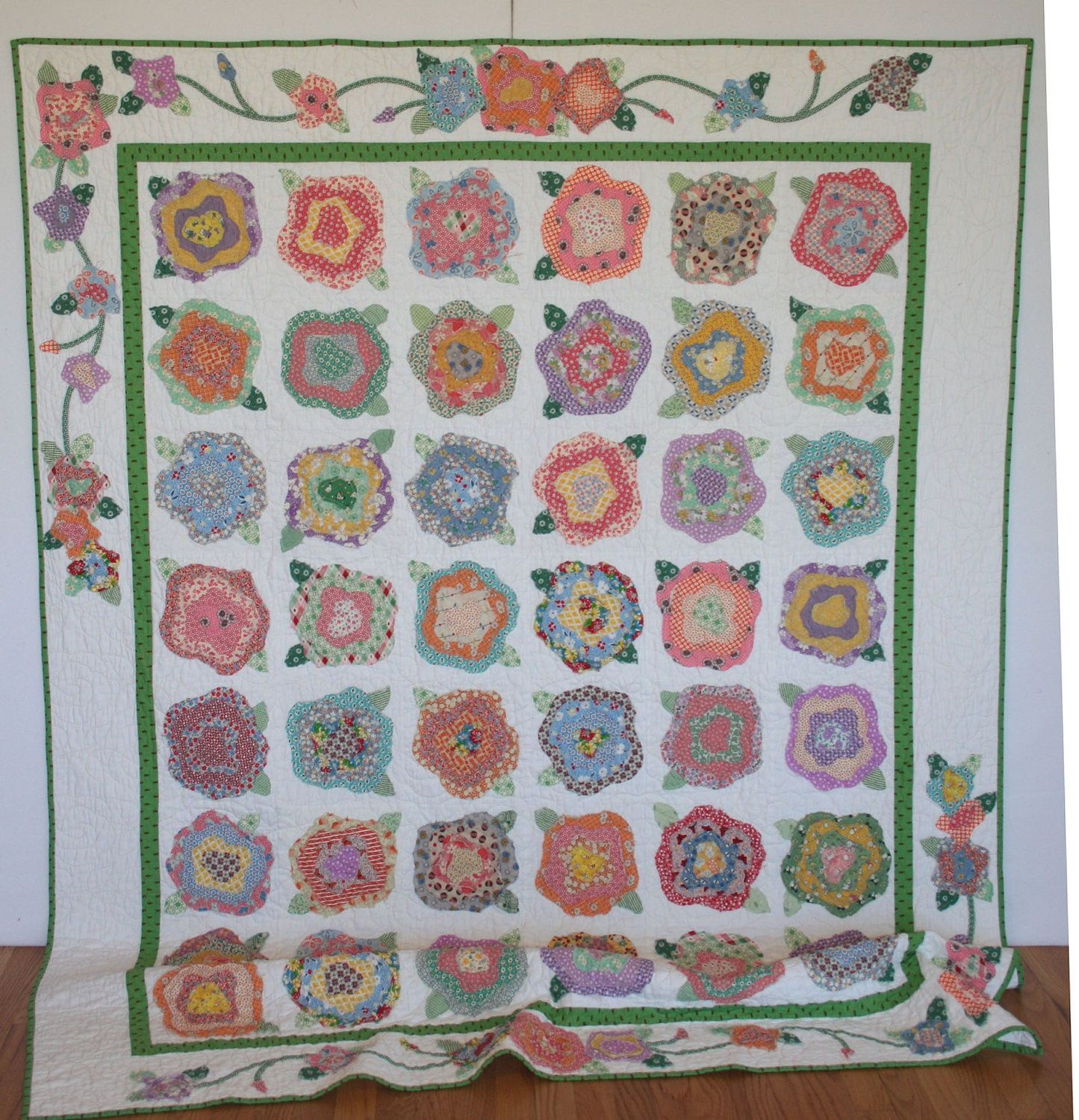french roses applique twin quilt 30 s fabrics rose patchwork and