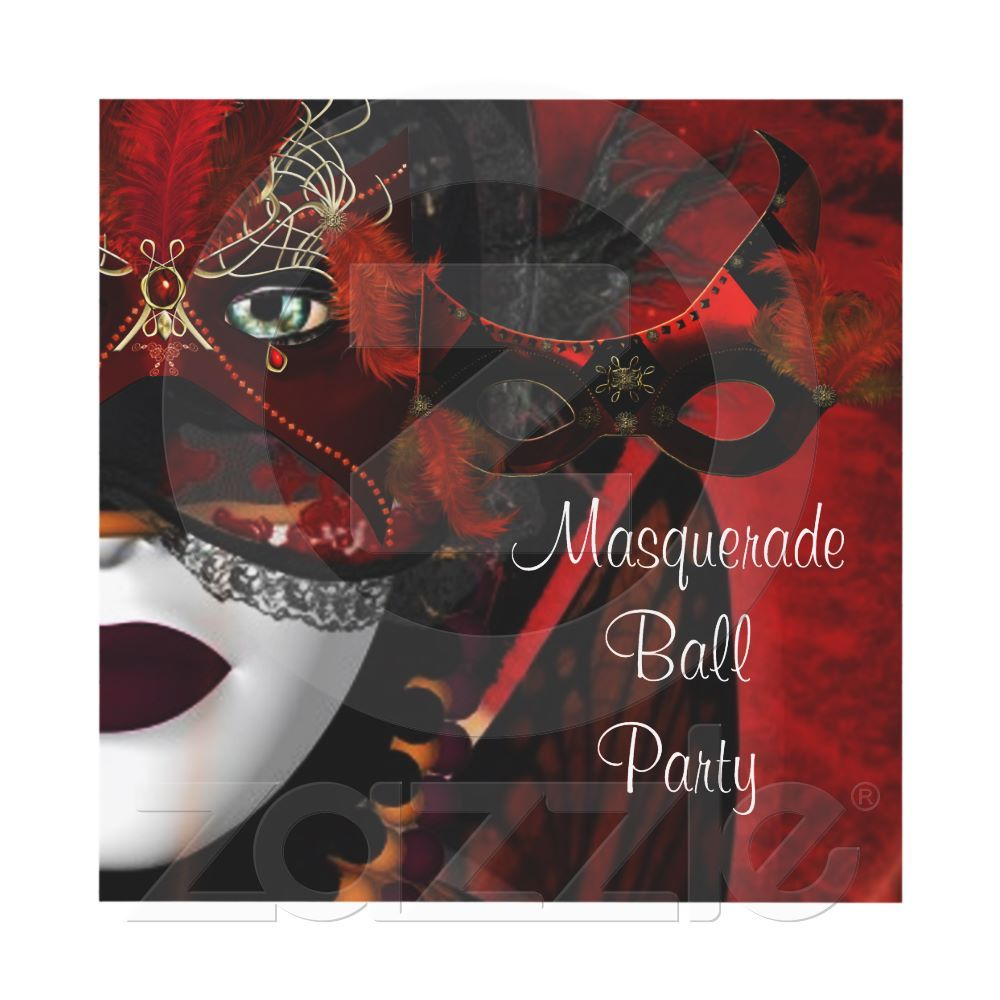 Masquerade Ball Party Mask Black Red Girl Invite have fun at your ...