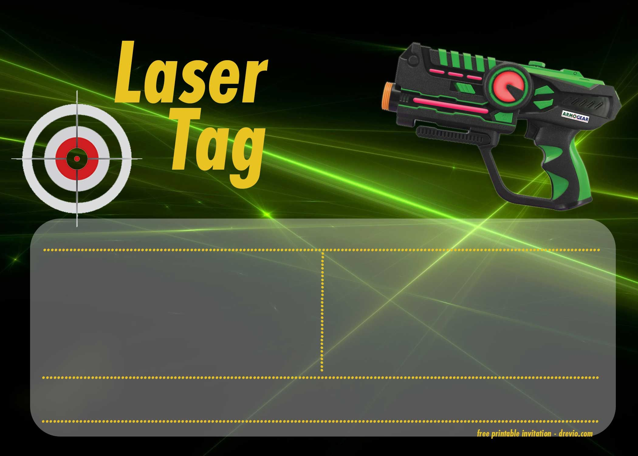 FREE Printable Laser Tag Invitation Templates