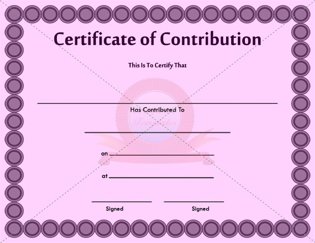 Contribution Certificate Template CONTRIBUTION CERTIFICATE - printable birth certificate template