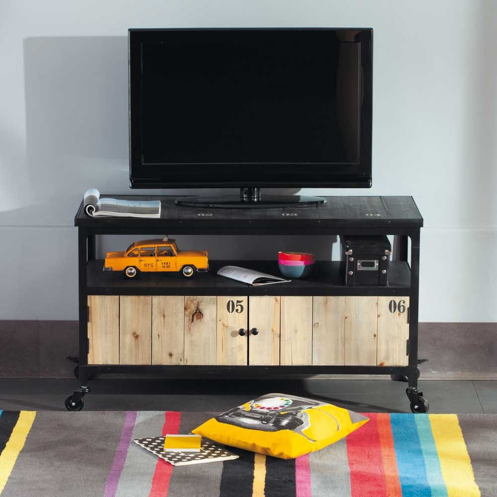 Mueble Tv Docks Decoraci N Pinterest Mueble Tv Tv Y Muebles  # Mueble Tv Industrial Negro