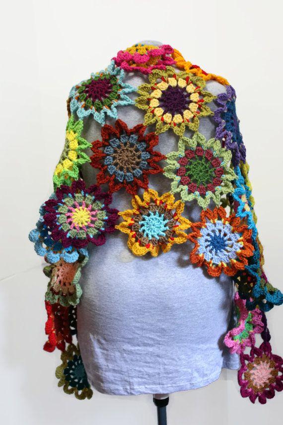 Boho Gypsy Crochet Japanese Flower Shawl Hippie Patchwork Wrap ...