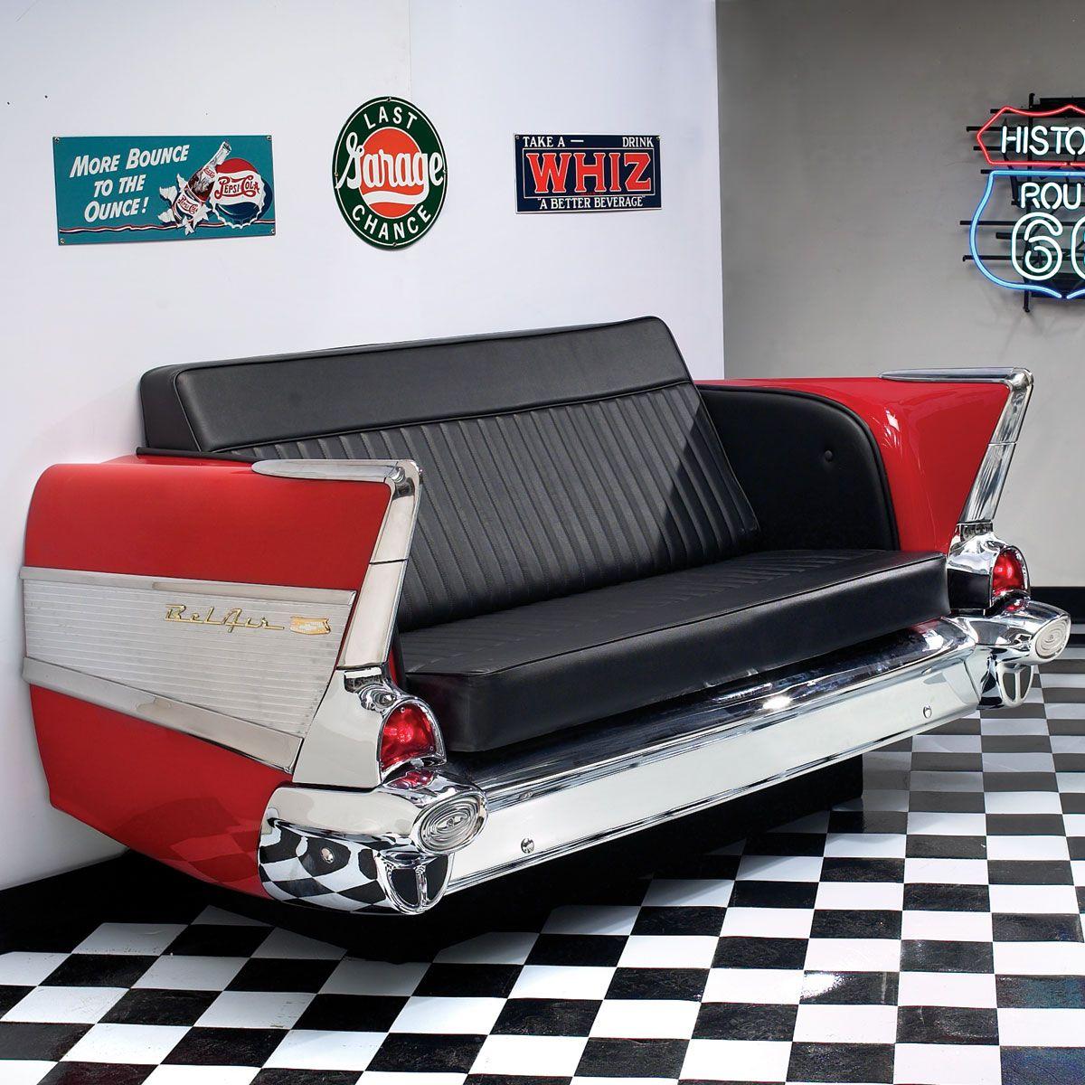 57 Chevy couch | Garage ideas | Automotive decor, Car part furniture ...
