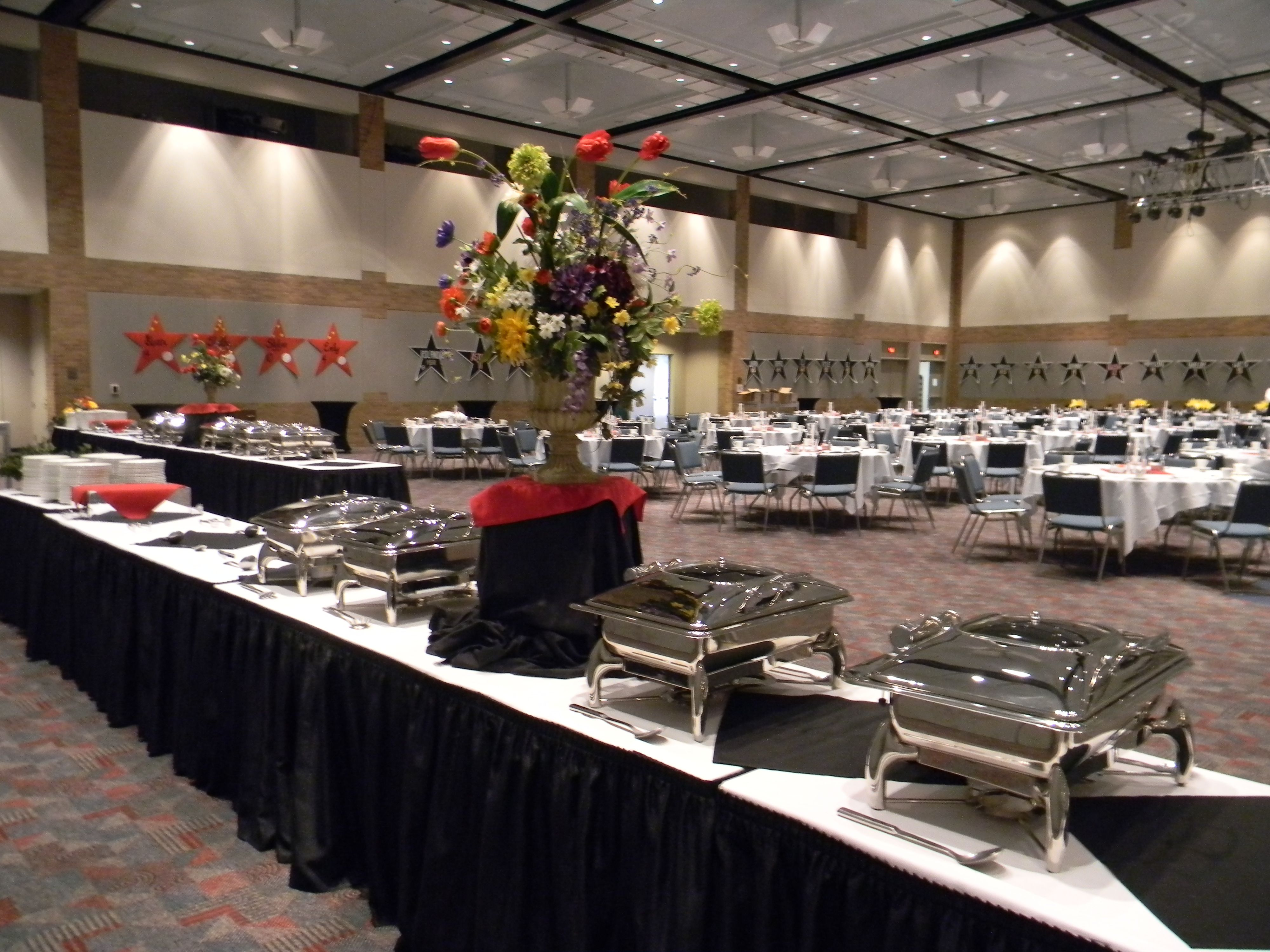 Set up for a high school athletic banquet plano event