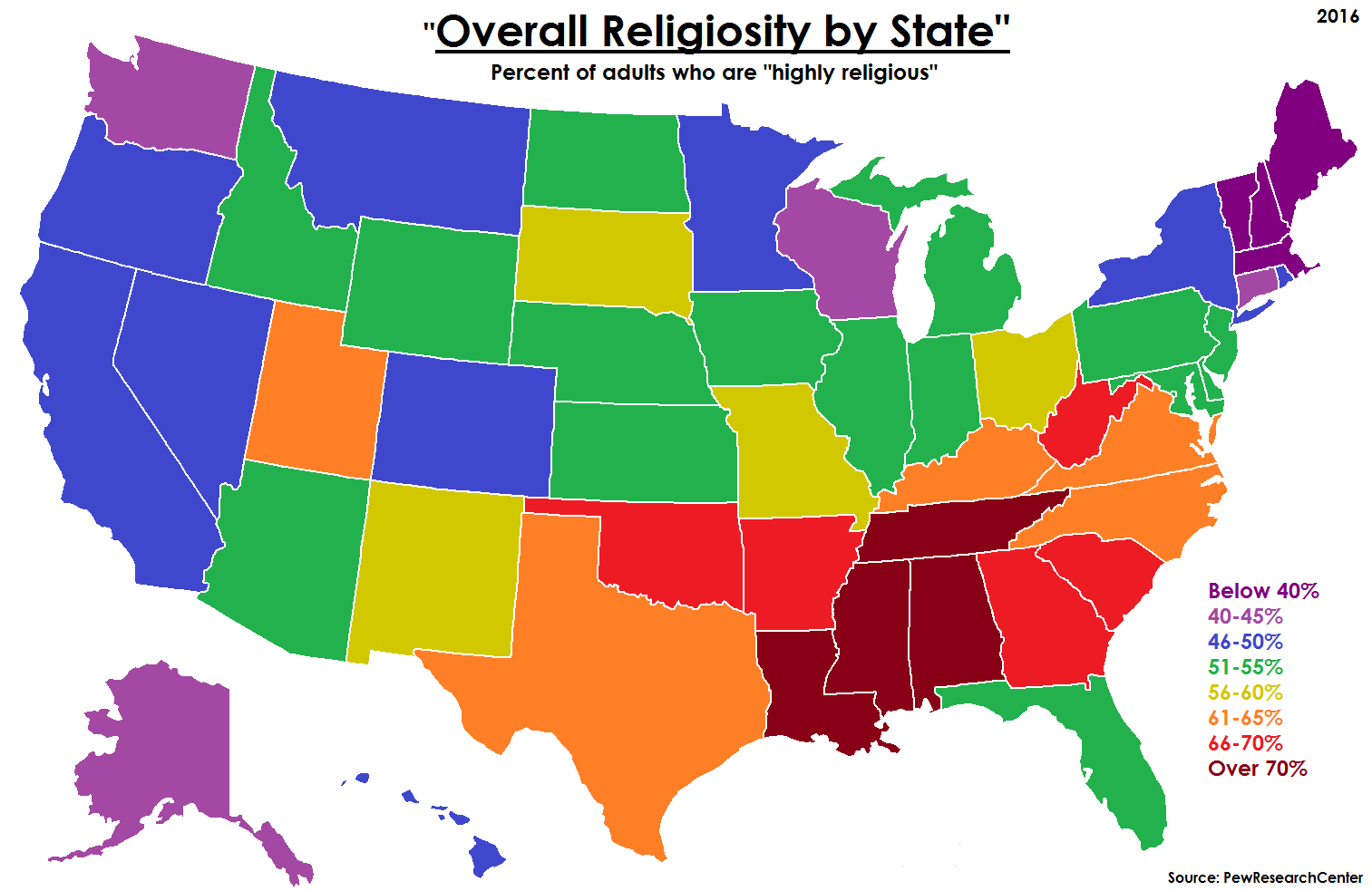 Overall Religiosity By US State United States Pinterest - Us state map png