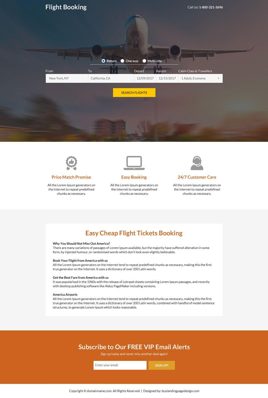 flight ticket booking mini landing page design Landing