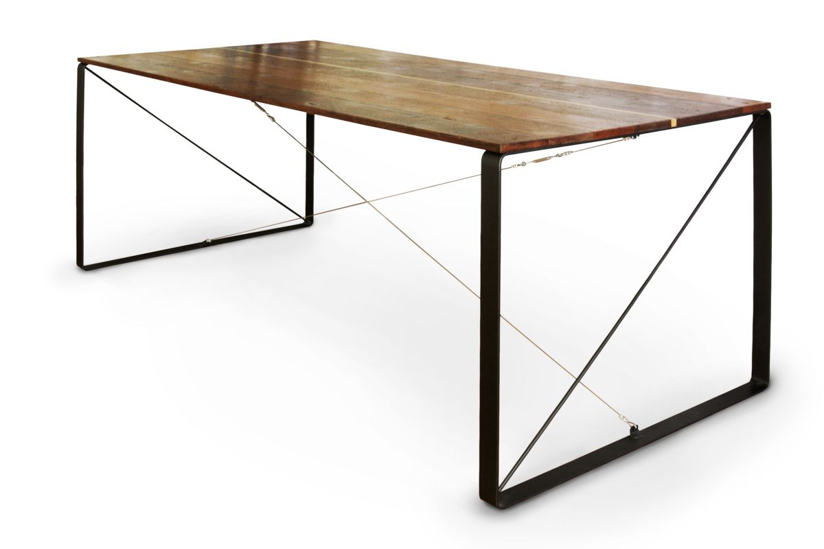 Reclaimed Wood Dining Table Steel Cable Cross Bracing, Modern Furniture