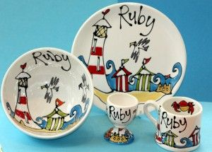 Personalised Pottery Dinnerware Set Hand Painted Plate Bowl Mug And Egg Cup Hand Painted Pottery Hand Painted Ceramics Handmade Ceramics Pottery