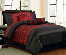 21-PC Black Burgundy Red Comforter Curtain Sheet Set Queen Size Bed in a Bag