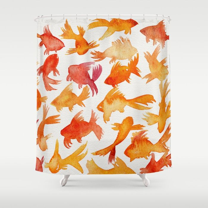 Buy Goldfish Shower Curtain By Catcoq Worldwide Shipping