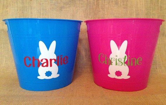 Personalized Kids Easter Basket Choose Name Color Design Personalization Blue