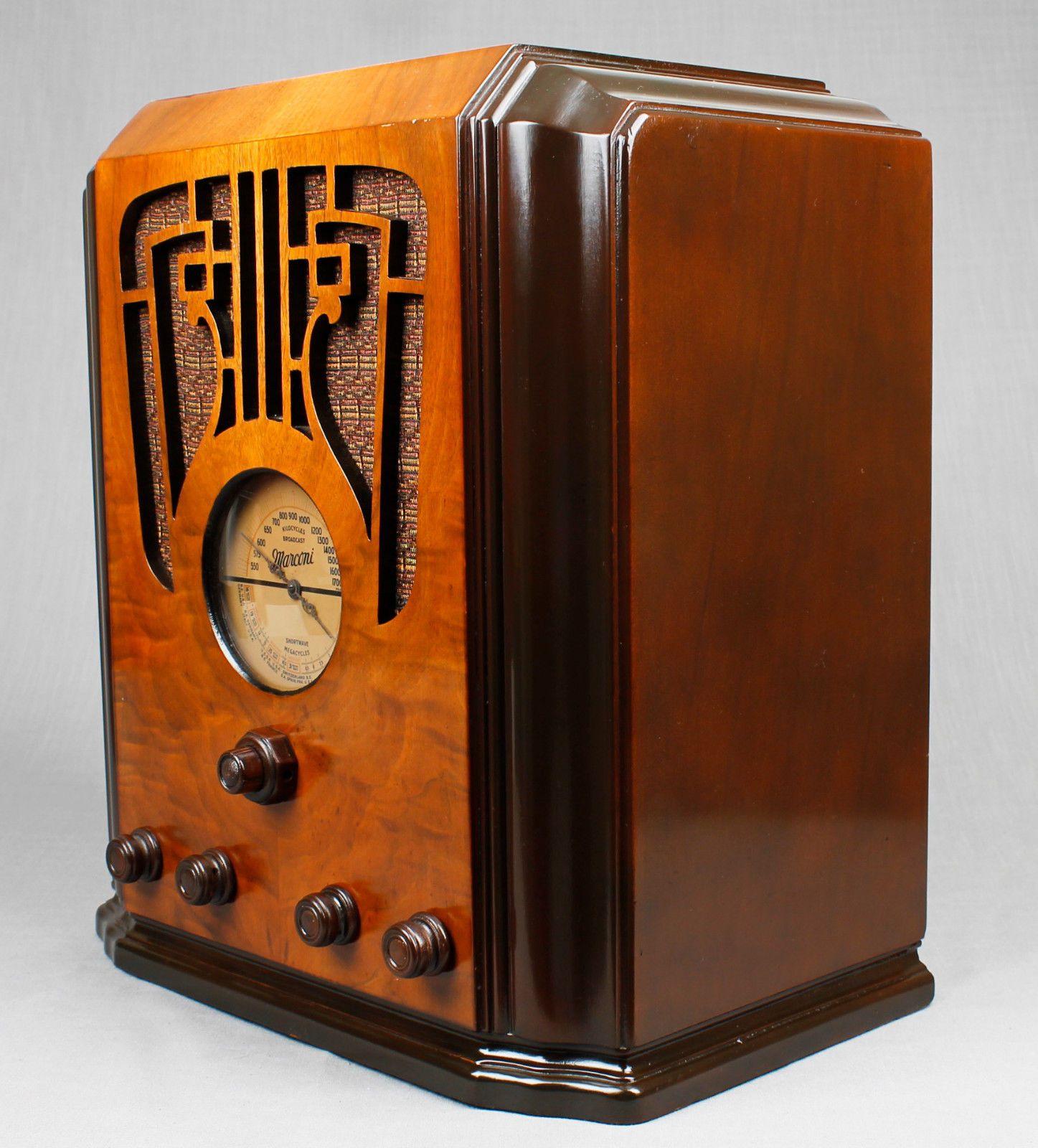 Beautiful Vintage 1936 Marconi 76 Intricate Wood Tombstone Vacuum Tube Radio Ebay Antique Radio Antique Radio Cabinet Vintage Radio