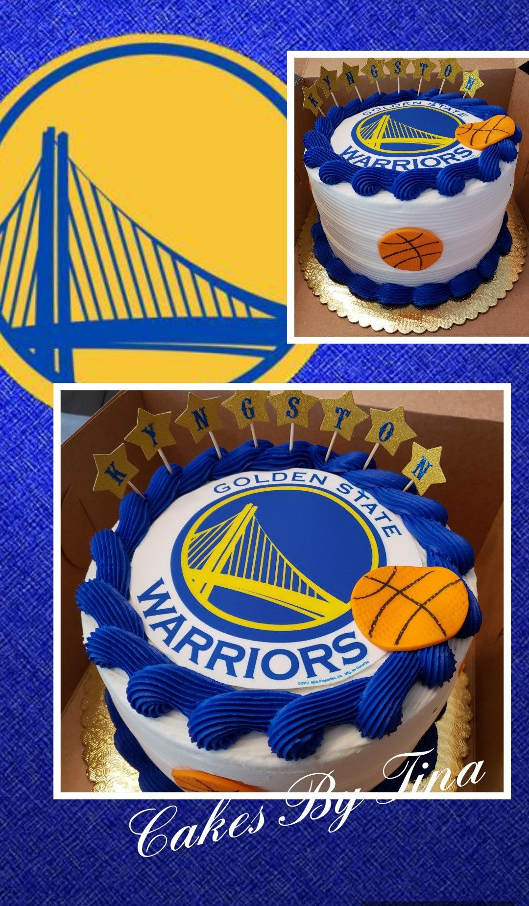 Golden State Warriors Theme Birthday Cake With Edible Print With
