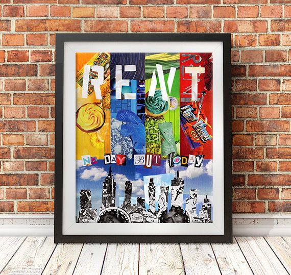 Rent Musical No day but today Bohemian Decor Wall Art Valentine gift ideas unique holiday gifts Mixed Media Collage Art  (26.00 USD) by ArtPopTart