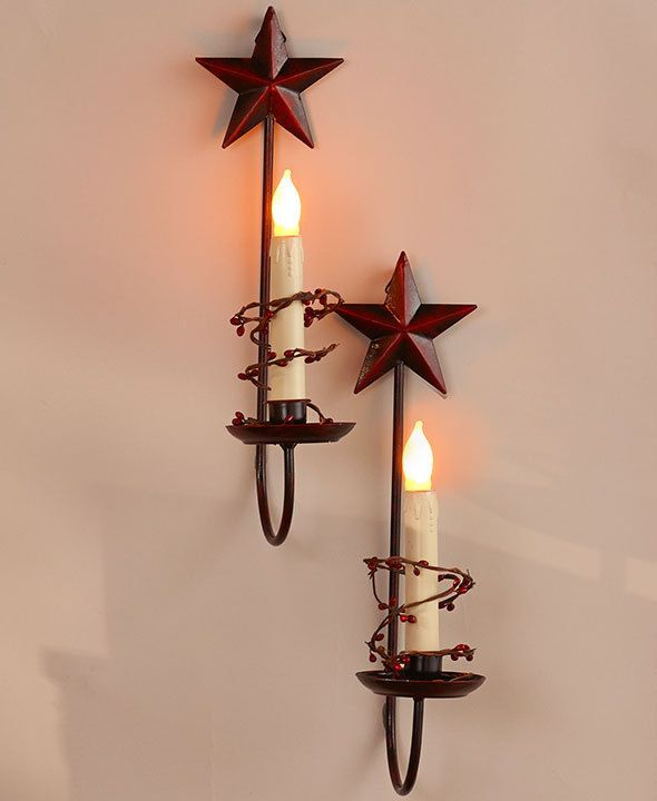 Hand Made By Amish Holds a Jar Candle 4 wide Wrought Iron Jar Candle Star Sconce