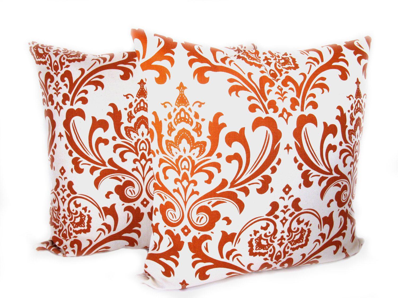 Orange Decorative Pillows Orange and Cream set of two 18x18 ...