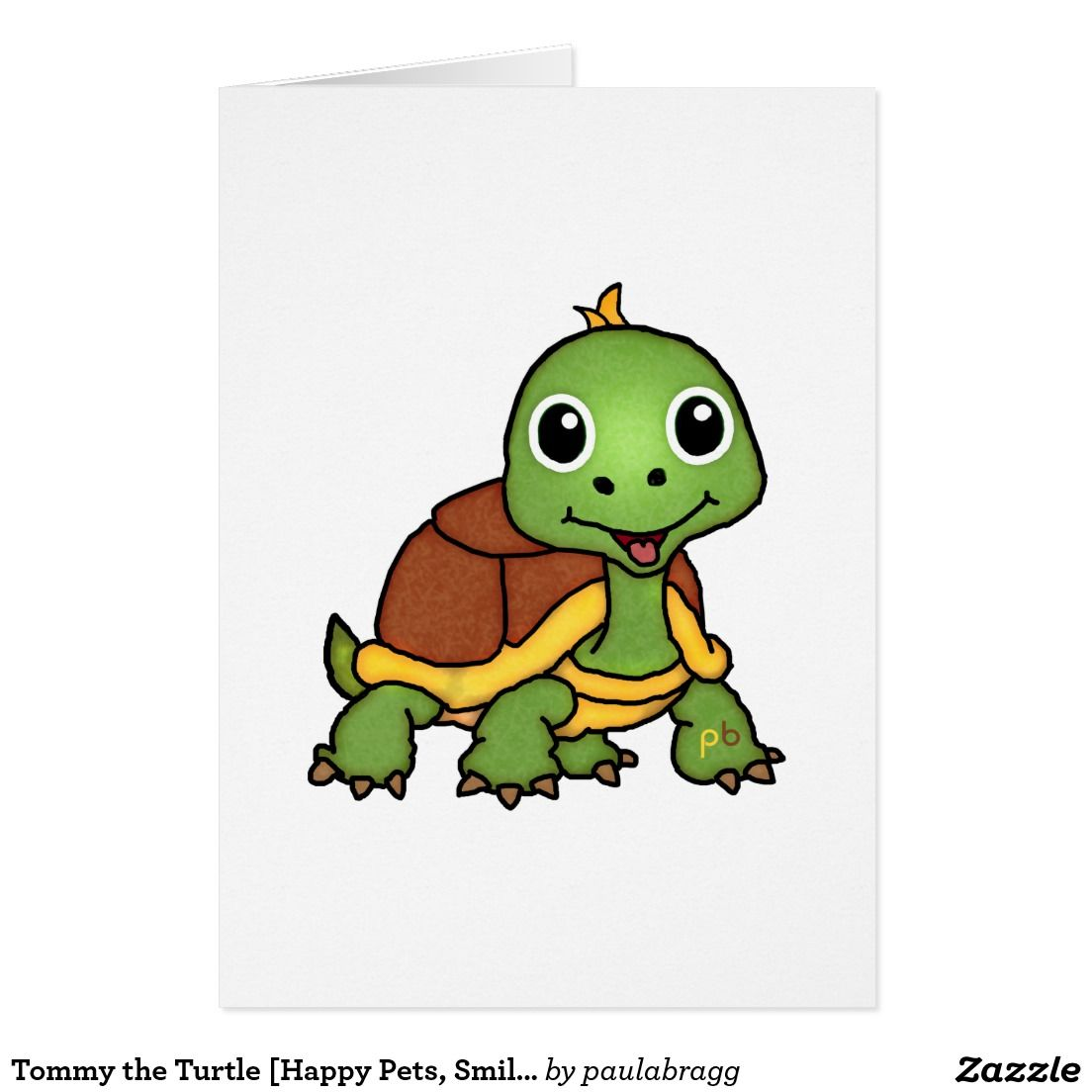 Tommy The Turtle Cute Animal Note Cards Adorable Cartoon Pets