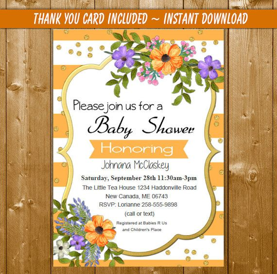 Floral Baby Shower Invitation, Watercolor Floral Baby Shower - download free baby shower invitations
