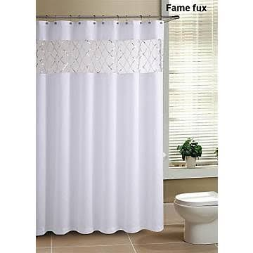 Victoria Classics Fame Faux Silk Shower Curtain With Sequins