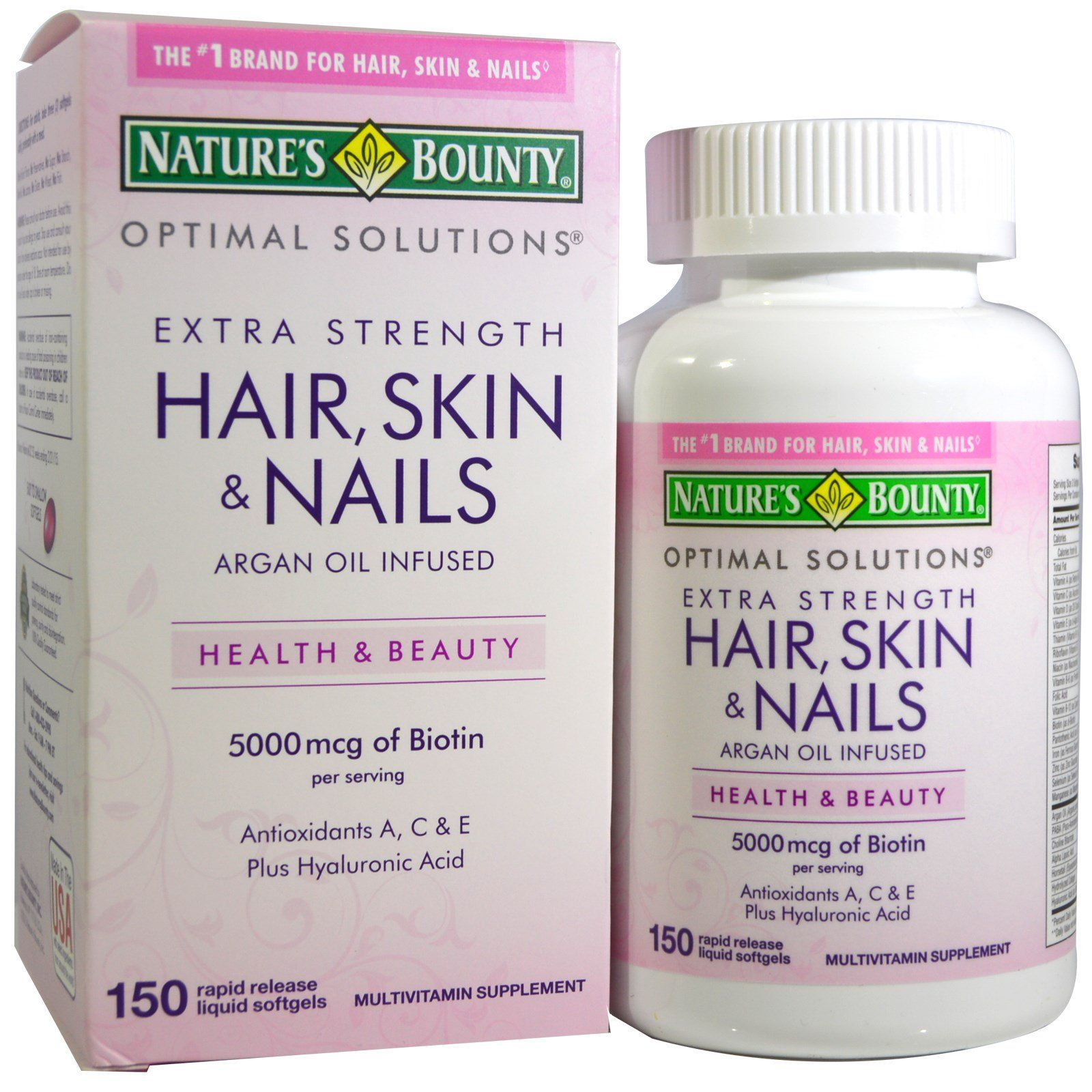 Nature S Bounty Optimal Solutions Hair Skin Nails Extra Strength 150 Rapid Release Liquid Softg Hair Vitamins Healthy Shiny Hair Hair And Nails Vitamins