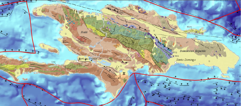 Geologic map of Hispaniola. Mzb are Mesozoic amphibolites and associated metasedimentary rocks, Ki are Cretaceous plutons, Kv are Cretaceous volcanic rocks, uK are Upper Cretaceous marine strata, Ku are Cretaceous sedimentary and volcanic rocks, K are Cretaceous marine strata, IT are Eocene and/or Paleocene marine strata, uT are Post-Eocene marine strata, T are Tertiary marine strata, V are volcanic rocks, and Q are Quaternary alluvium.