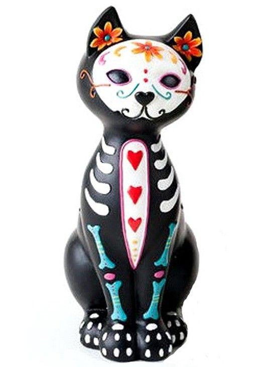 """""""Kitty Love"""" Skeleton Statue #Inkedshop #kitty #love #skeleton #statue #cat #kittystatue"""