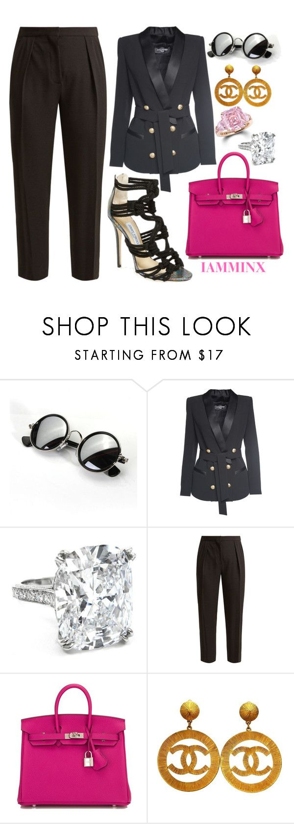 """""""Untitled #378"""" by iamminx ❤ liked on Polyvore featuring Graff, Balmain, Jimmy Choo, See by Chloé and Hermès"""