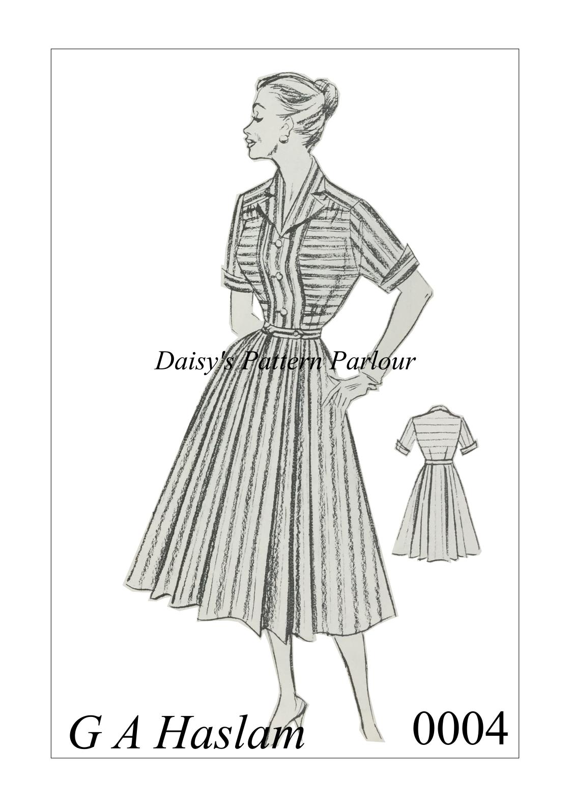 Vintage Sewing Pattern 1950s Full Skirt Dress Rockabilly Rock Roll ...