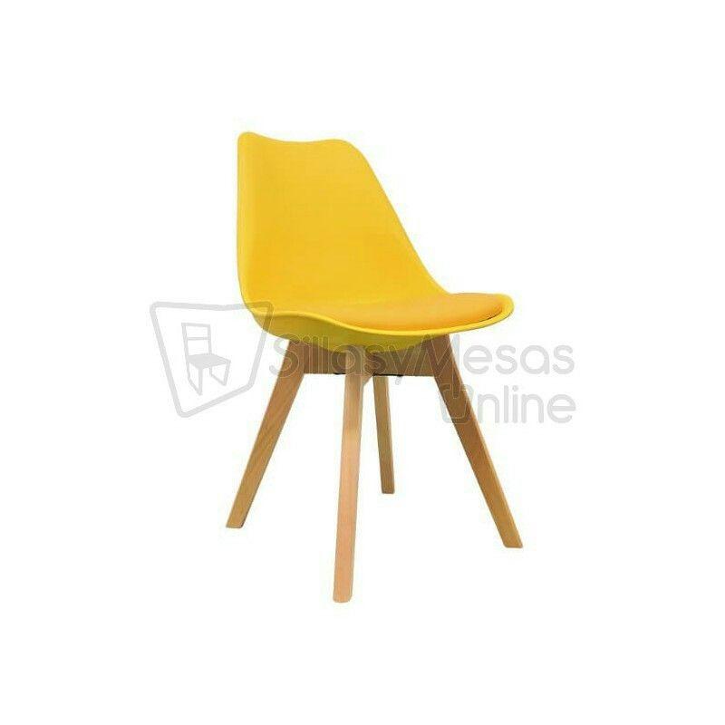 Silla nórdica Maine con cojín de polipiel ahora en color amarillo 🚩. Perfecta para hostelería
