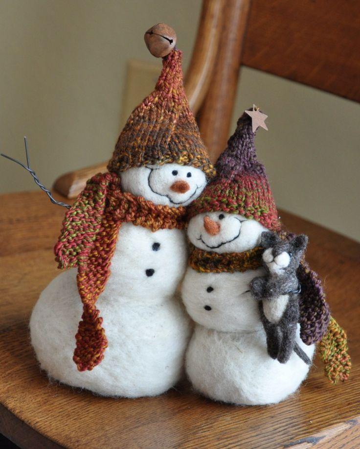 muñeco de nieve hecho de lana