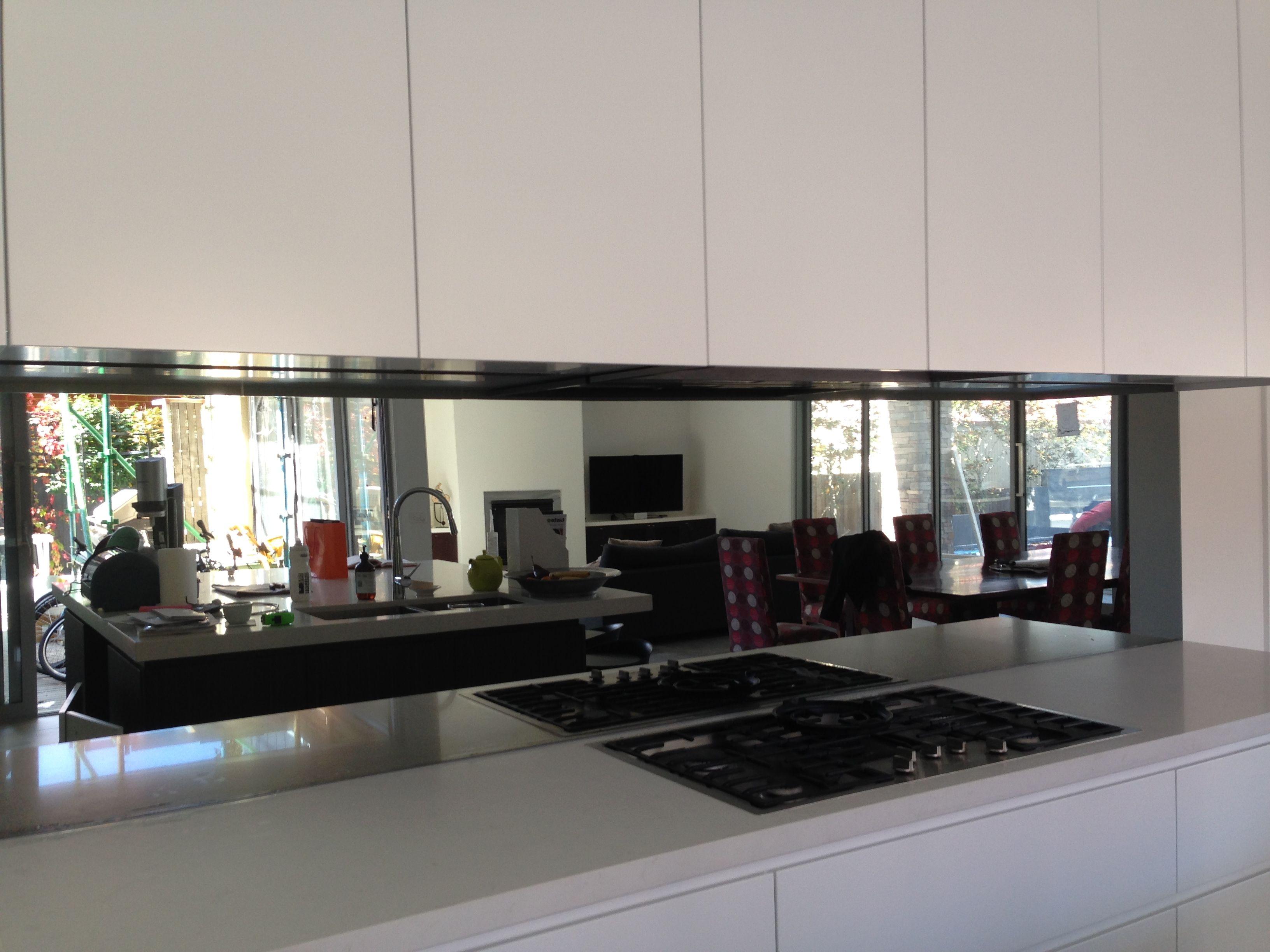 Pin By Ultimate Glass Splashbacks On Toughened Mirror Splashbacks Kitchen Mirror Kitchen Remodel Modern Kitchen Design