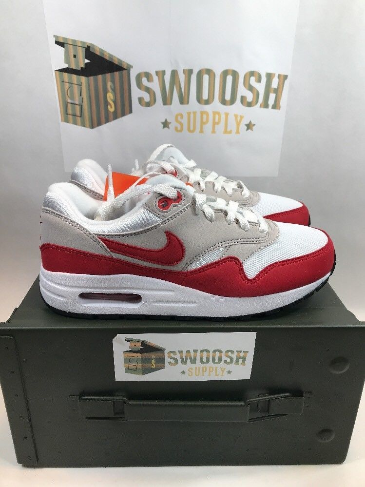 newest collection c8a51 93ec5 NIKE AIR MAX 1 QS (GS) OG WHITE RED SZ 7Y WOMENS SZ 8.5  827657-101  AIR MAX  DAY  Nike  Athletic