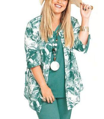 Chalou Damen Long Tunika Bluse A-Linie elegant lang große Größen V-Ausschnitt