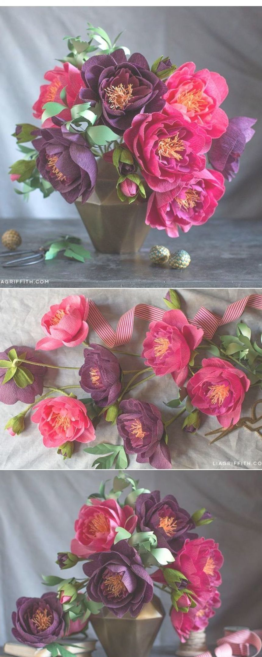 How to Make Crepe Paper Peonies  Lia Griffith Adult DIY crafts are so much fun Lia makes learning how to craft this peony flower easy by giving you a step by step video t...