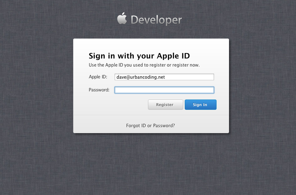 Apple developer login minimalism Development, Web