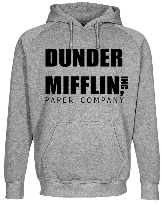 40475530 Dunder Mifflin Grey Hoodie The Office US Dwight by NerdshirtsUK ...