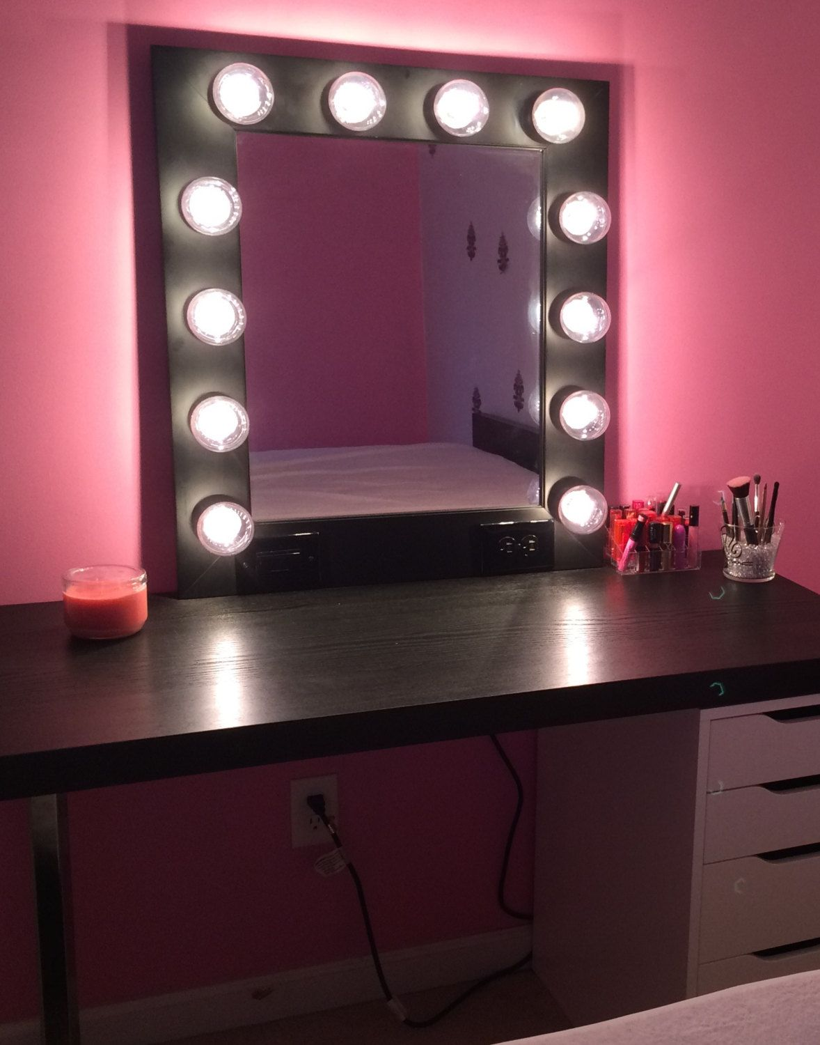 black lighted vanity mirror. vanity makeup mirror with lights- available built in digital led dimmer and power outlet- plug it in, watch light up! by customvanity on etsy black lighted pinterest